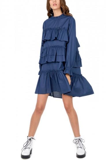 Rochie cu volane bumbac albastru Andrea