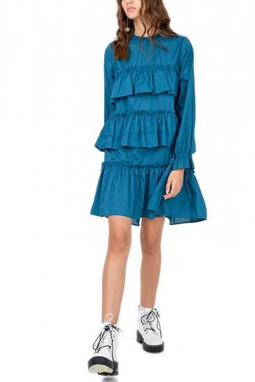 Rochie albastra cu volane Nadia
