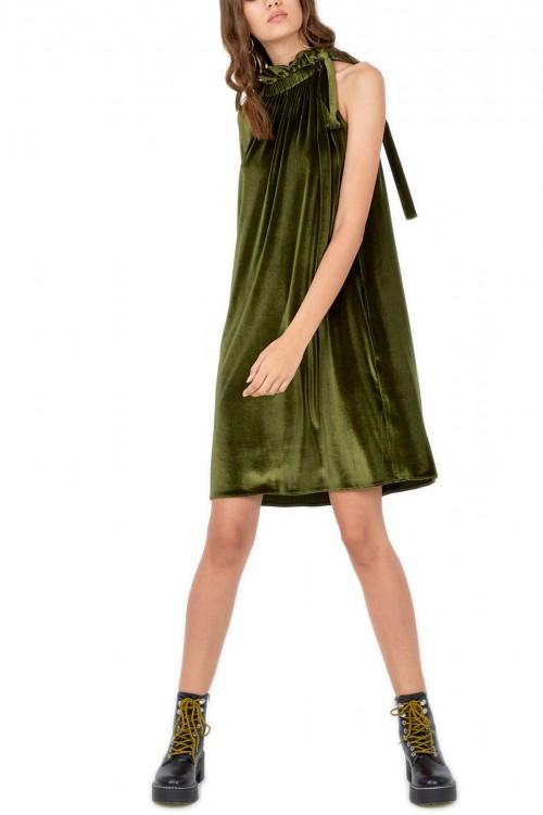 Rochie de ocazie catifea verde Fresco