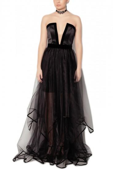 Rochie lunga neagra cu decolteu in V