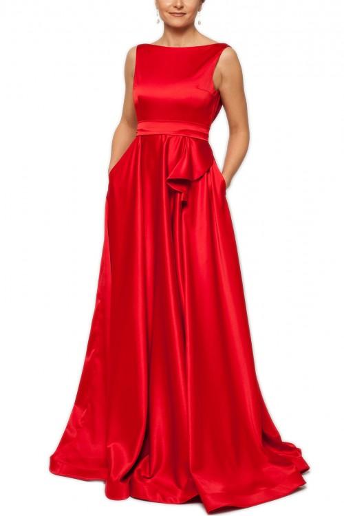 Rochie lunga rosie cu spatele gol