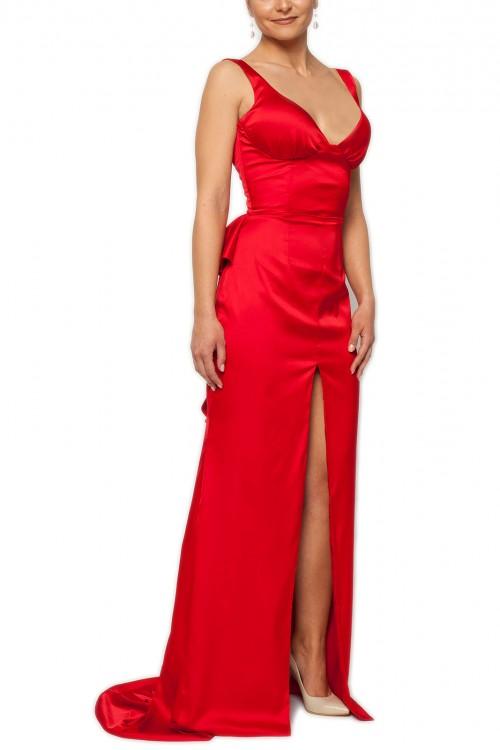 Rochie lunga rosie cu volane
