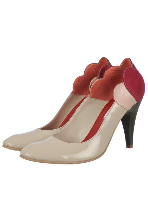 Pantofi nude piele lacuita