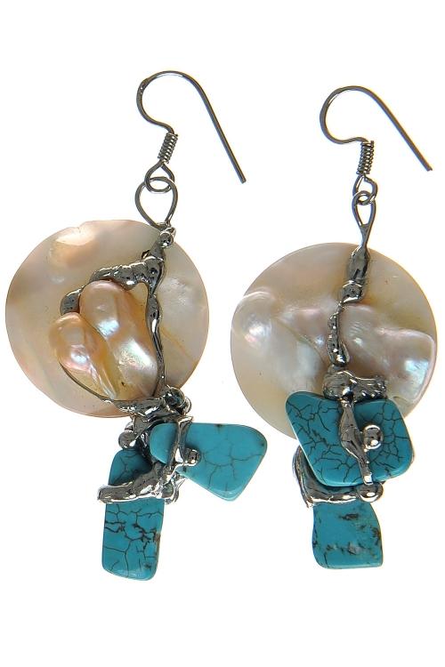 Cercei argintati cu perla si turcoaz-Unicat