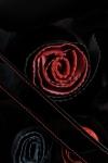 Geanta piele lacuita neagra cu detalii florale