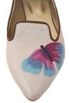 Balerini piele crem Butterfly
