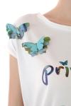 Tricou alb fluturi colorati Priveste cerul