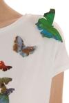 Tricou alb fluturi colorati Skull