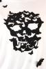 Tricou alb fluturi negri Skull