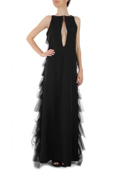 Rochie lunga cu volane tull negru-Exclusiv pentru Endra