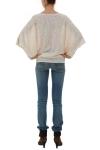 Bluza bumbac nude cu fermoare si aplicatie