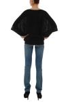 Bluza bumbac negru cu fermoare si aplicatie
