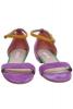 Sandale piele intoarsa lila barea galbena