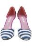 Pantofi piele naturala dungi alb bleumarin