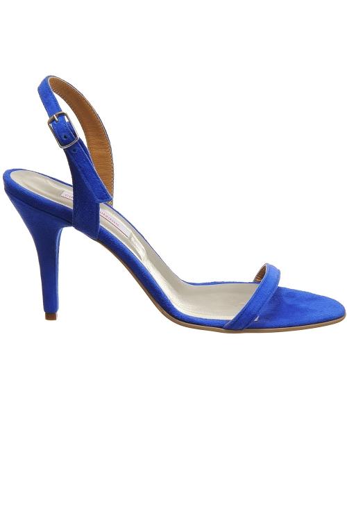Sandale bareta piele naturala albastru electric