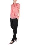Bluza dungi rosu alb cu funda supradimensionata
