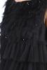 Rochie cocktail tull negru si aplicatii