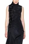 Rochie conica neagra cu volane asimetrice si dantela