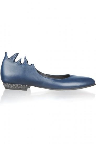 Balerini piele albastra si glitter Penelope