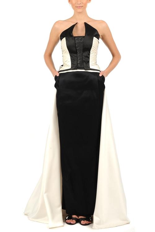 Roche de seara alb-negru cu corset