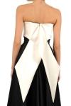 Rochie bumbac alb-negru cu funda supradimensionata