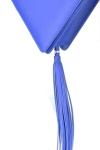 Geanta triunghi piele albastra cu ciucure
