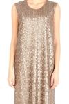 Rochie cu paiete aurii si piele naturala