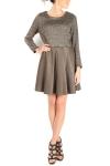 Rochie tricot si piele cu fermoare multifunctionale