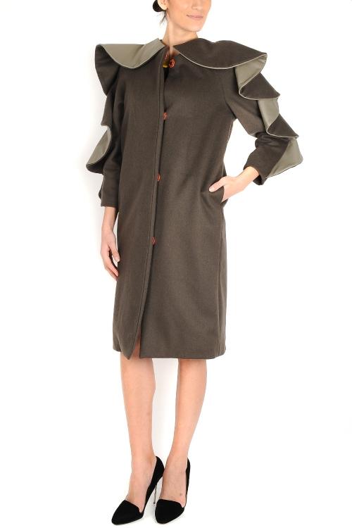 Palton lana maro si piele naturala