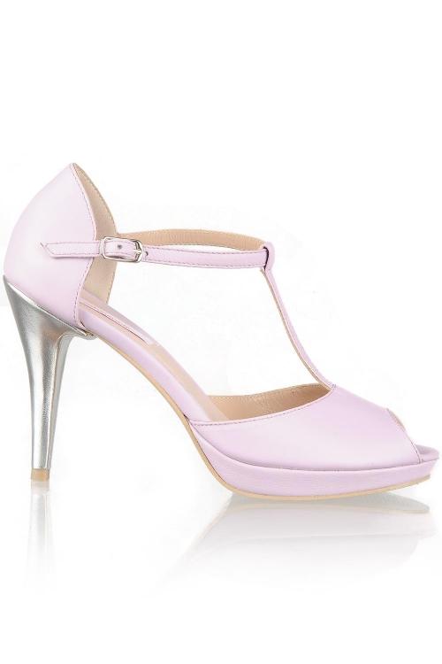 Sandale lila cu toc cui