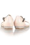 Sandale piele nude cu print