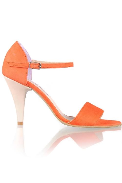 Sandale piele intoarsa corai