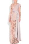 Rochie lunga dantela roz pastel si voal gri