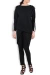 Bluza neagra din jerse cu fronseuri