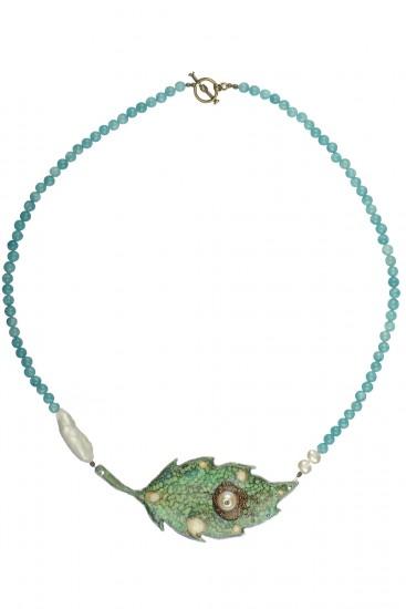 Colier cu perle si aqvarin Frunza