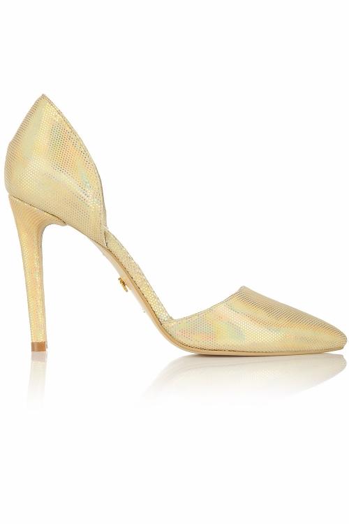 Pantofi aurii piele naturala cu toc subtire