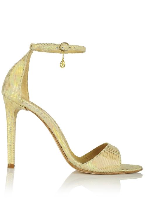 Sandale cu toc din piele aurie cu textura