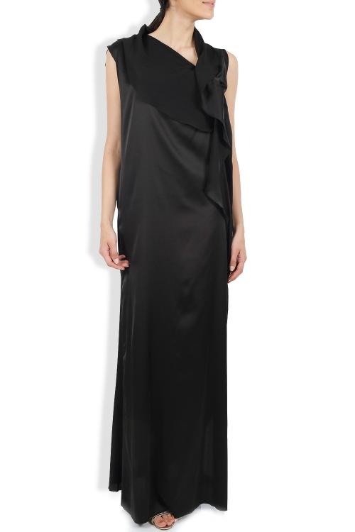 Rochie lunga neagra cu volane