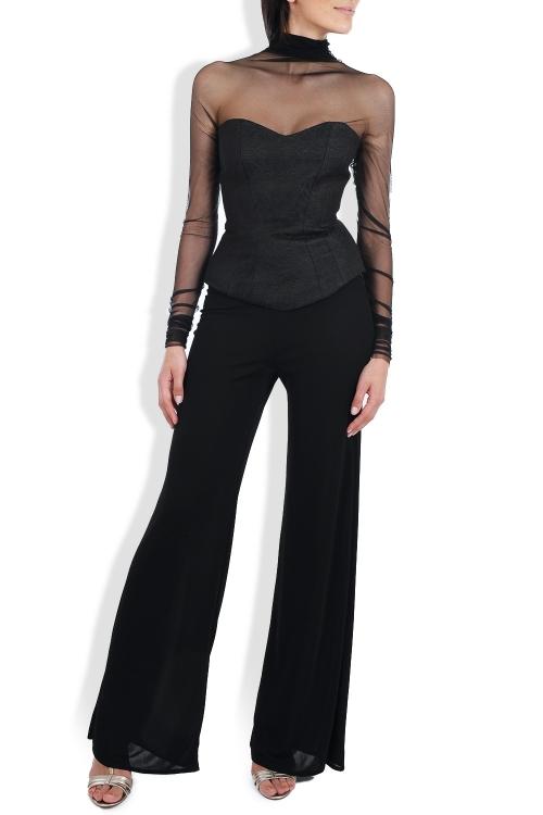 Top negru tip corset din brocart si tulle