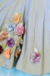 Rochie bumbac satinat si tulle cu flori realizate manual