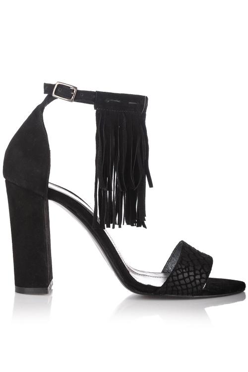 Sandale negre cu toc gros si franjuri detasabile
