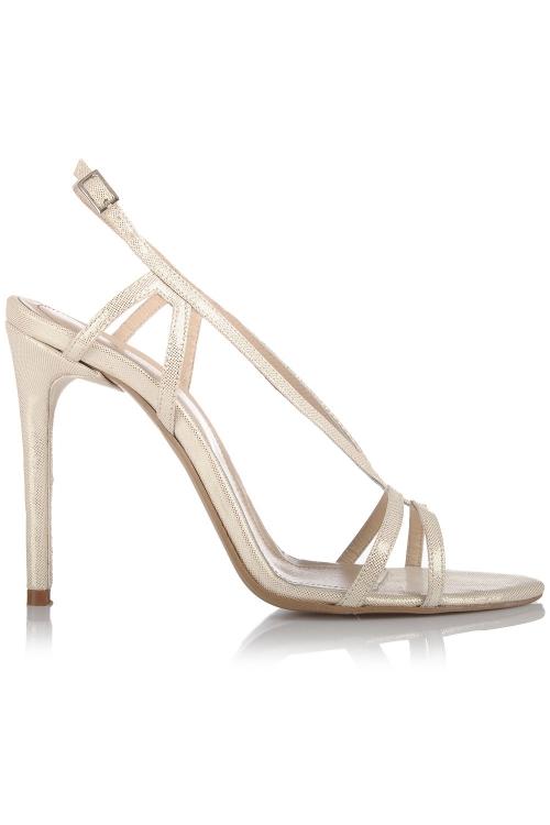 Sandale cu toc piele aurie