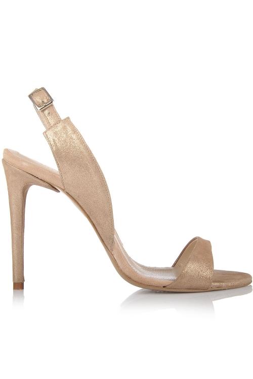 Sandale cu toc piele intoarsa cu reflexe bej rose
