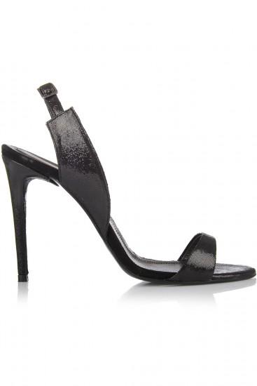 Sandale elegante piele intoarsa cu reflexe negre