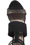 Sandale cu toc gros piele neagra si aurie