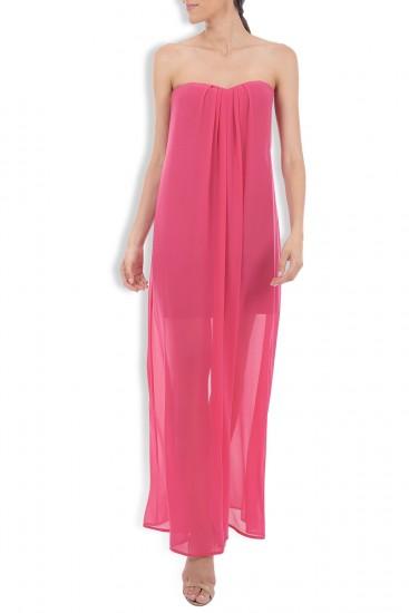Rochie lunga roz Brodon