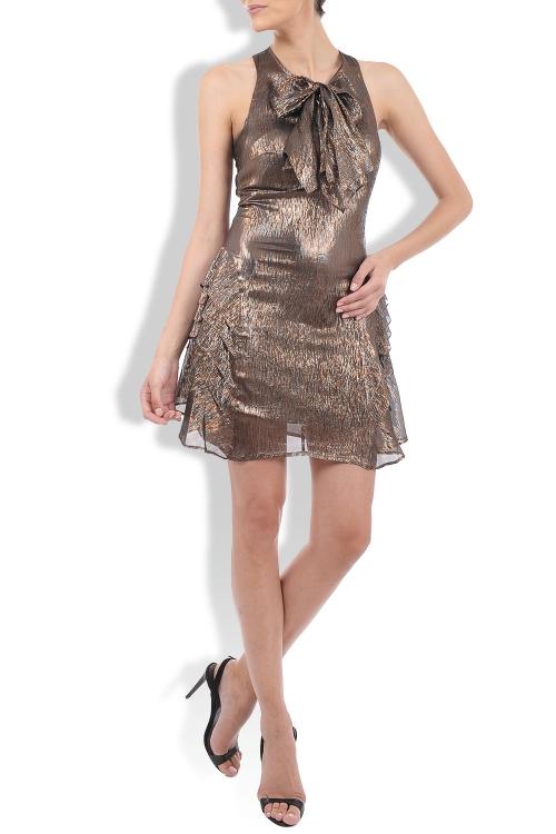Rochie din voal cu irizatii metalice auriu maro