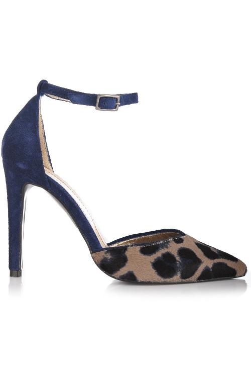 Pantofi stiletto piele intoarsa albastra si imprimeu leopard