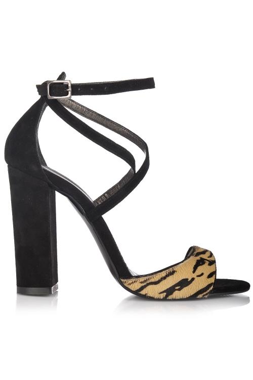 Sandale cu toc gros piele neagra si cognac