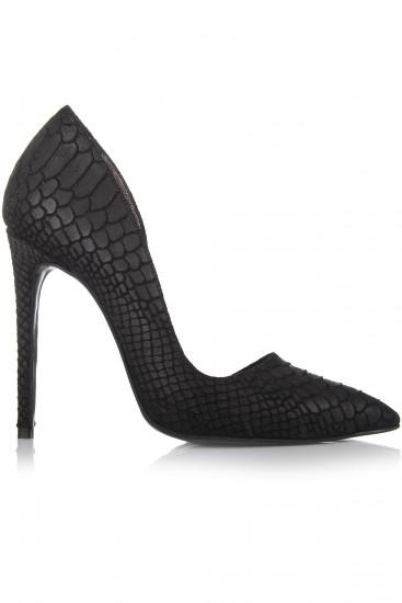 Pantofi stiletto piele neagra cu textura